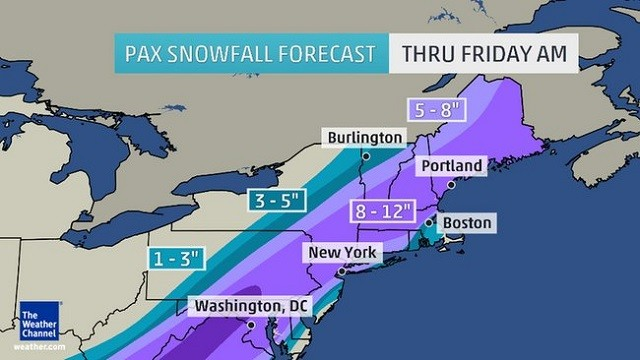 Northeast Snow Forecast Credit: www.weather.com