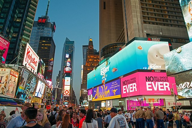 English: Times Square, Broadway in evening, May 2016