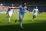 Lionel Messi of Argentina scores winning goal against Iran